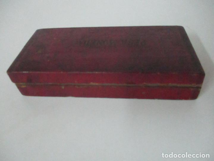 Antigüedades: Balanza - Bascula Pesa Monedas - con Pesas y Ponderales - con Caja de Madera - S. XIX - Foto 13 - 149930174