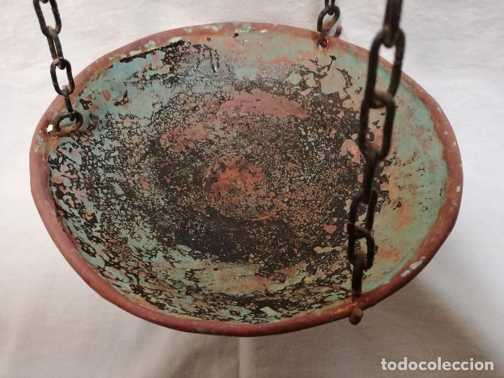 Antigüedades: PESO / BASCULA / BALANZA / ESTATERA ROMANA EN BRONCE Y PLATO DE COBRE CON SELLO AΣ - Foto 4 - 150148470