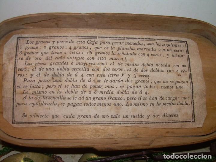 Antigüedades: ANTIGUA BALANZA CON DOS PESAS CUÑOS DE BARCELONA..CON SU CAJA ORIGINAL. - Foto 3 - 150308378