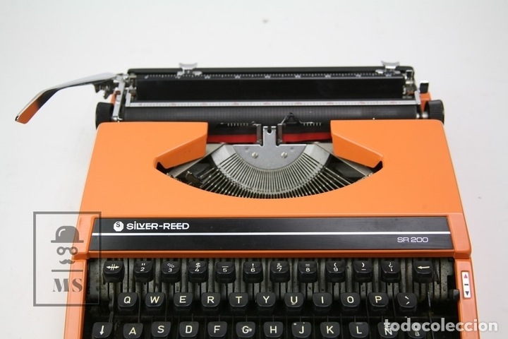 Antigüedades: Máquina De Escribir - Silver Reed SR 200 - Años 60 - Color Naranja - Con Caja - Foto 3 - 150363713