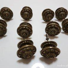 Antigüedades: 10 TIRADORES POMO ROCOCO ANTIGUOS BRONCE GRANDES REF. 035. Lote 150778734