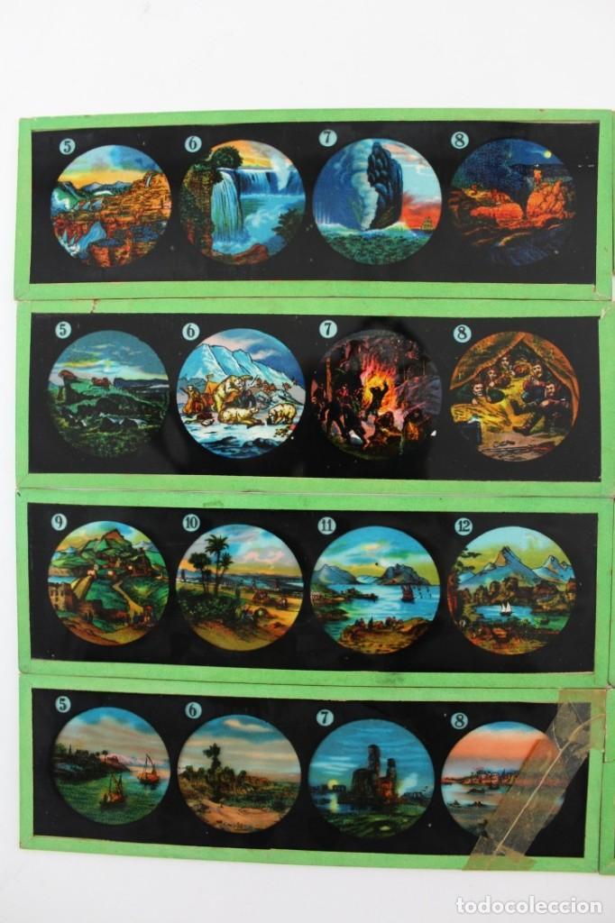 Antigüedades: LM-5 LOTE DE 9 PLACAS O CRISTALES PARA LINTERNA MAGICA PINTADOS A MANO. - Foto 2 - 150787310