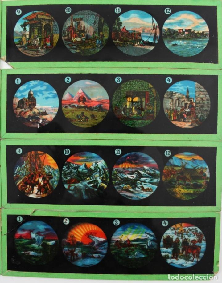 Antigüedades: LM-5 LOTE DE 9 PLACAS O CRISTALES PARA LINTERNA MAGICA PINTADOS A MANO. - Foto 3 - 150787310