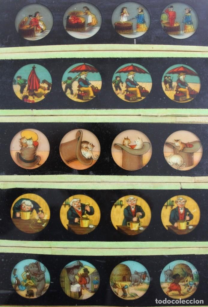 Antigüedades: LM-9 LOTE DE 11 PLACAS O CRISTALES PARA LINTERNA MAGICA . - Foto 3 - 150931030