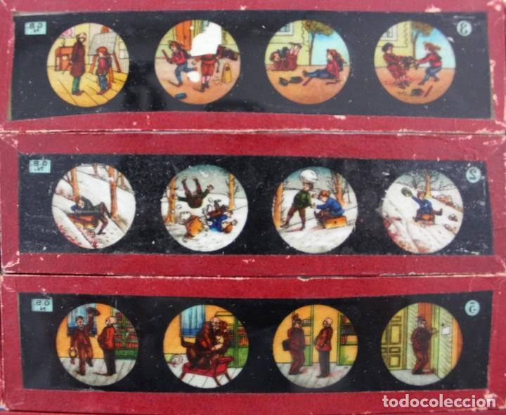 Antigüedades: LM-11 LOTE DE 11 PLACAS O CRISTALES PARA LINTERNA MAGICA . - Foto 3 - 150933218