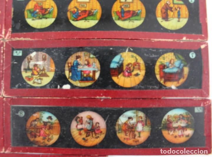 Antigüedades: LM-11 LOTE DE 11 PLACAS O CRISTALES PARA LINTERNA MAGICA . - Foto 4 - 150933218