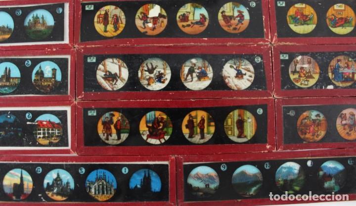 Antigüedades: LM-11 LOTE DE 11 PLACAS O CRISTALES PARA LINTERNA MAGICA . - Foto 5 - 150933218