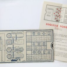 Antigüedades: REGLA DE CÁLCULO FORGUBA ACERO DULCE PASAMANOS CHAPAS - MODELO PATENTADO F.6 - INCLUYE INSTRUCCIONES. Lote 35779096