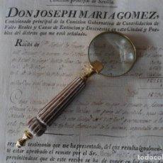 Antigüedades: LUPA DE LATON Y MANGO DE MADERA. Lote 151319862