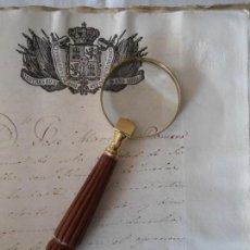 Antigüedades: LUPA DE LATON Y MANGO DE MADERA. Lote 151319998