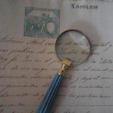 Antigüedades: LUPA DE LATON Y MANGO DE MADERA. Lote 151320106