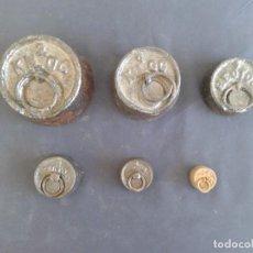 Antigüedades: JUEGO 6 PESAS PONDERAL 2 KILOS A 50 GR. Lote 151335522