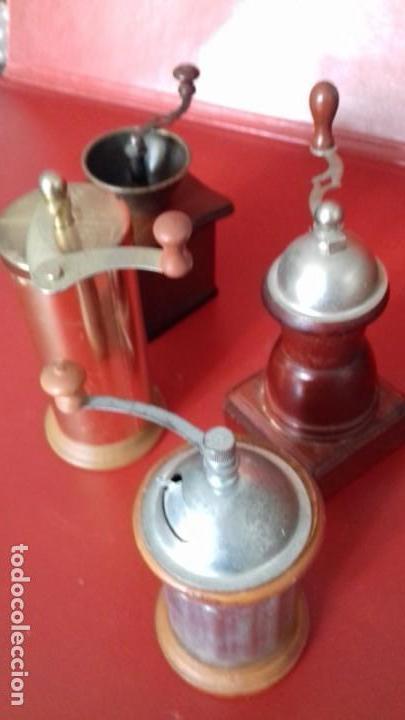 MOLINILLOS DE CAFÉ MINI. COLECCIÓN DE 4 UNIDADES. PRECIOSAS RÉPLICAS PARA DECORACIÓN (Antigüedades - Técnicas - Molinillos de Café Antiguos)