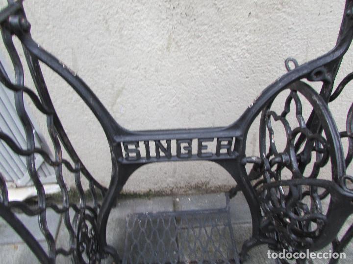 Antigüedades: Pie máquina coser SINGER año 1915. Completo. Funciona. Pintado - Foto 2 - 151710254