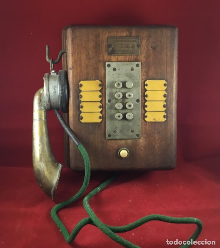 Teléfonos: Teléfono antiguo de madera, francés, intercomunicador con ocho pulsadores. - Foto 4 - 189123262