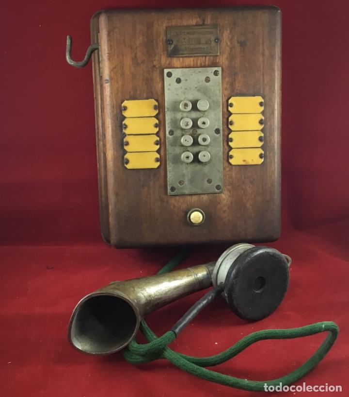 Teléfonos: Teléfono antiguo de madera, francés, intercomunicador con ocho pulsadores. - Foto 5 - 189123262