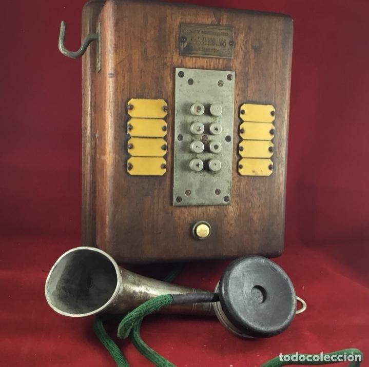 Teléfonos: Teléfono antiguo de madera, francés, intercomunicador con ocho pulsadores. - Foto 6 - 189123262