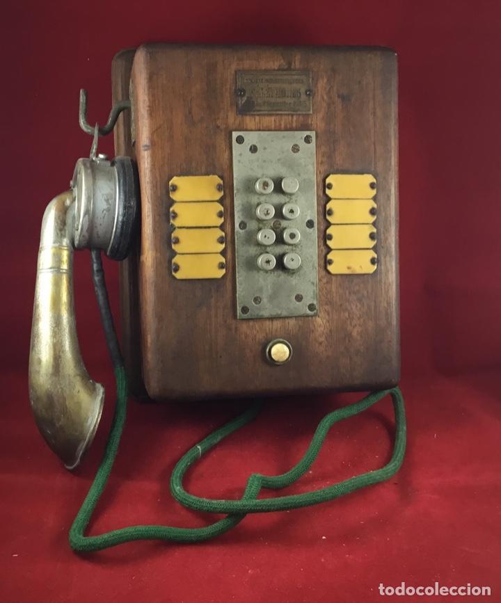 Teléfonos: Teléfono antiguo de madera, francés, intercomunicador con ocho pulsadores. - Foto 7 - 189123262