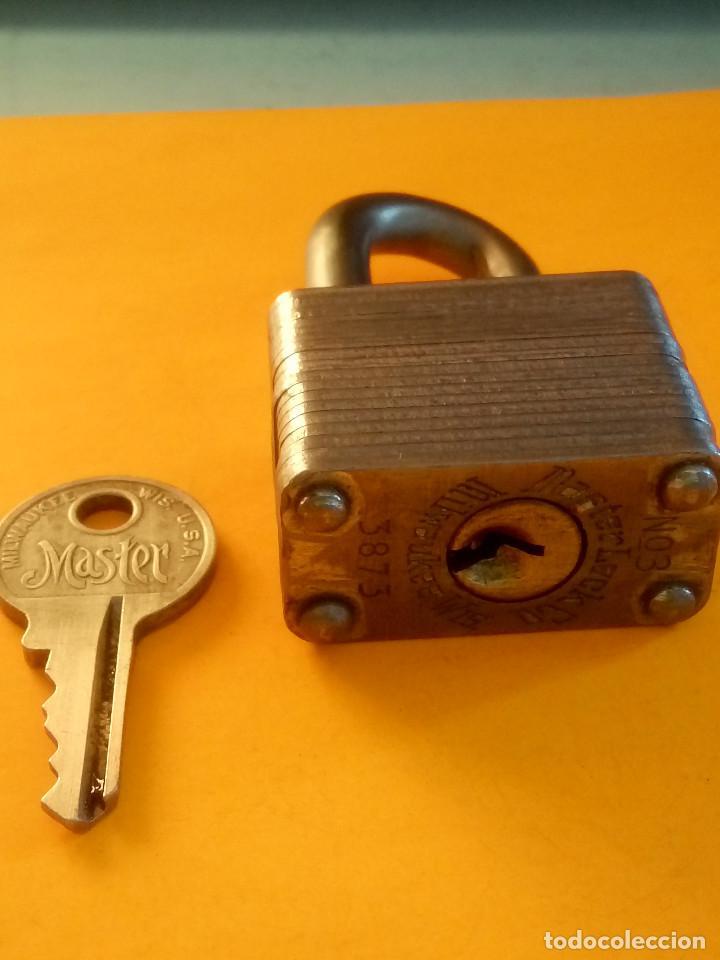 Antigüedades: ANTIGUO CANDADO MASTER LOCK. U.S.A. PERFECTO Y FUNCIONANDO. LIMPIADO Y ENGRASADO. DESCRIP. Y FOTOS - Foto 3 - 152273762