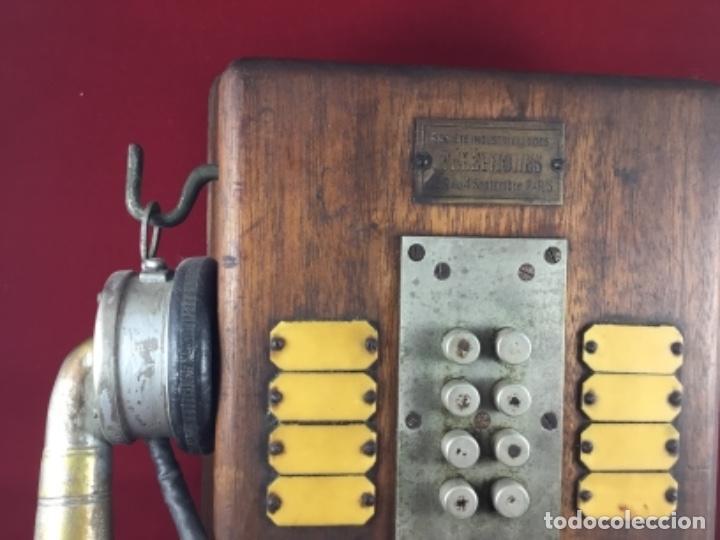 Teléfonos: Teléfono antiguo de madera, francés, intercomunicador con ocho pulsadores. - Foto 2 - 189123262