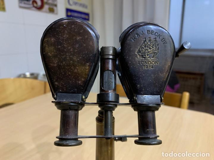 Antigüedades: Antiguo binocular náutico con soporte de latón R & J Beck Londres 1914 - Foto 5 - 152654918