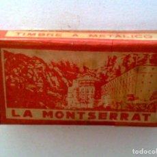 Antigüedades: ESTUCHE ANTIGUO,COMPLETO DE 10 HOJAS DE AFEITAR,LA MONTSERRAT,CON TIMBRE ADUANA EN REVERSO. Lote 195178797