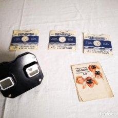 Antigüedades: VISOR 3D VIEW MASTER MODELO C AÑOS 40 CON 3 DISCOS. Lote 152826114