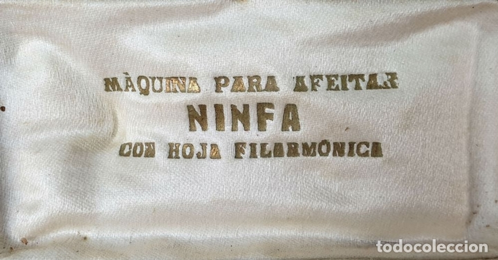 Antigüedades: MAQUINILLA DE AFEITAR MARCA NINFA. ESTUCHE ORIGINAL. HOJA FILARMONICA. CIRCA 1950. - Foto 5 - 153066322