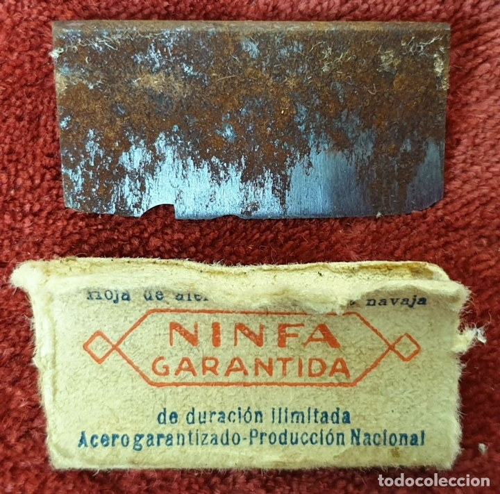 Antigüedades: MAQUINILLA DE AFEITAR MARCA NINFA. ESTUCHE ORIGINAL. HOJA FILARMONICA. CIRCA 1950. - Foto 7 - 153066322