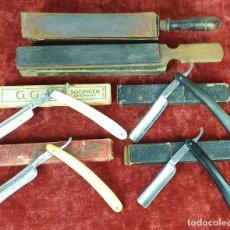 Antigüedades: SET DE 4 NAVAJAS DE AFEITAR Y 2 SUAVIZADORES. FUNDAS ORIGINALES. SIGLO XX. . Lote 153074462