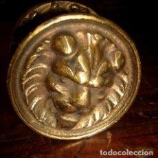 Antigüedades: POMO TIRADOR ANTIGUO PARA PUERTA CABEZA DE LEON, DE BRONCE. Lote 190795761