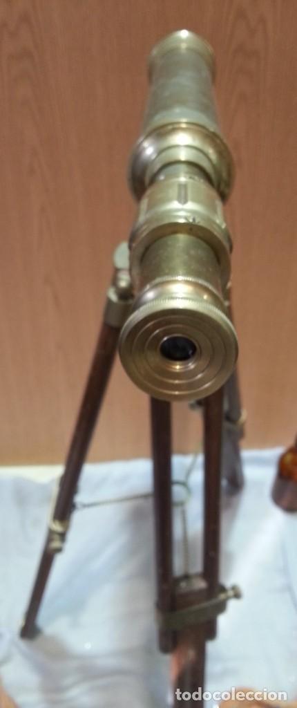 Antigüedades: Catalejo, telescopio naval. Vintage. Años 90. Sobre trípode. Precioso instrumento marítimo. - Foto 4 - 153360502