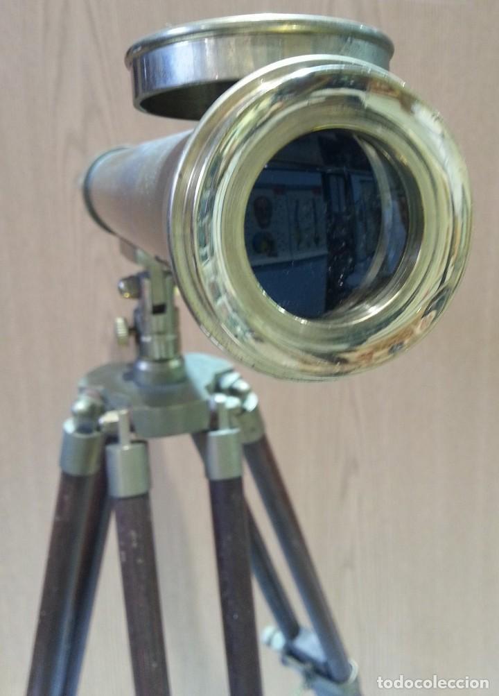 Antigüedades: Catalejo, telescopio naval. Vintage. Años 90. Sobre trípode. Precioso instrumento marítimo. - Foto 9 - 153360502