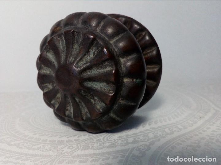 PRECIOSO POMO - TIRADOR ANTIGUO DE LATÓN (5,5 CM DIÁMETRO) (Antigüedades - Técnicas - Cerrajería y Forja - Tiradores Antiguos)