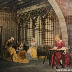Reproducción grabado época. Mujeres cosiendo. Maquinas de coser. 26,3x23,9 cm