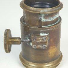 Antigüedades: LENTE DE TELESCOPIO. BRONCE Y VIDRIO. REGULABLE. DOBLE LENTE. SIGLO XIX-XX. . Lote 154127074