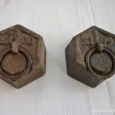 Antigüedades: 2 PESAS HEXAGONALES DE 1 KILO CADA UNA EN BUEN ESTADO. Lote 154253098