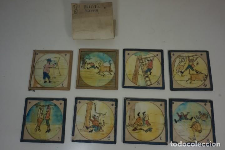 Antigüedades: VARIADA COLECCIÓN DE 55 PLACAS PARA LINTERNA MÁGICA PINTADAS A MANO c.1890 - Foto 7 - 154286614