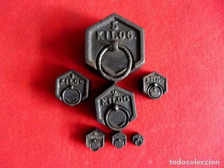Antigüedades: JUEGO DE 7 PESAS EXAGONALES - Foto 2 - 154841734