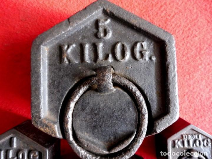 Antigüedades: JUEGO DE 7 PESAS EXAGONALES - Foto 3 - 154841734