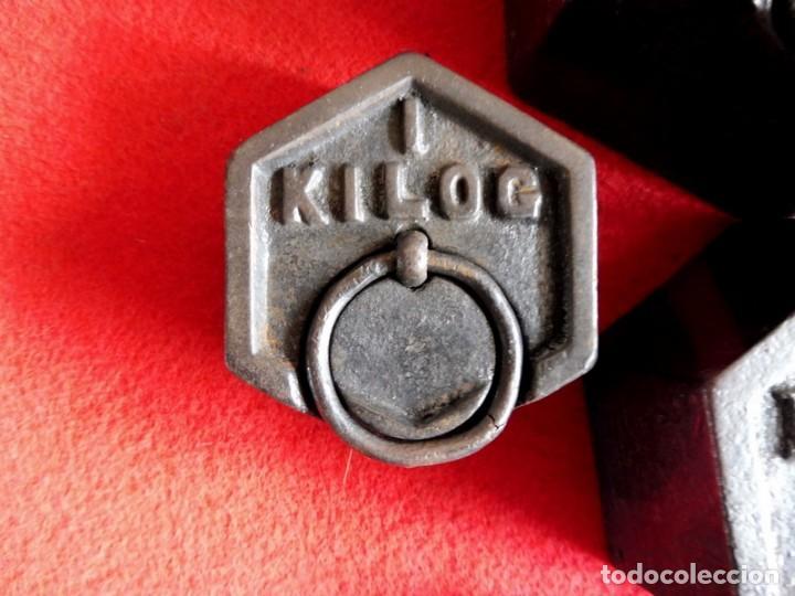 Antigüedades: JUEGO DE 7 PESAS EXAGONALES - Foto 5 - 154841734