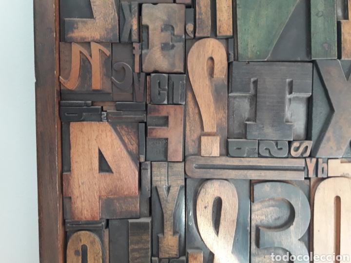 Antigüedades: Antiguos tipos de imprenta enmarcados 49 X 37 CMS - Foto 3 - 154890068