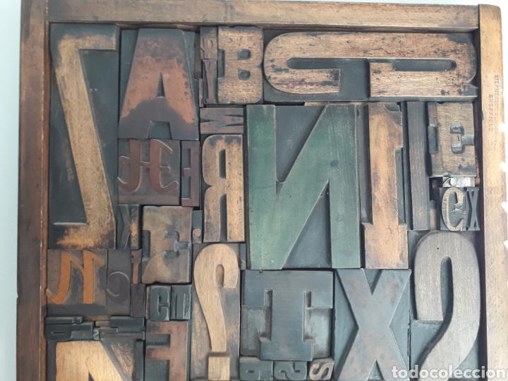 Antigüedades: Antiguos tipos de imprenta enmarcados 49 X 37 CMS - Foto 4 - 154890068