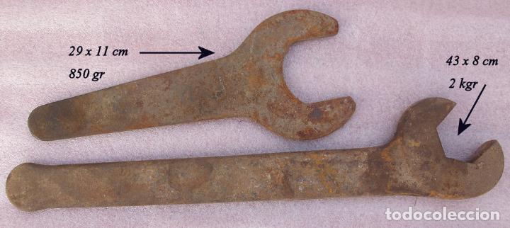 DOS ENORMES LLAVES FIJAS ANTIGUAS (Antigüedades - Técnicas - Herramientas Profesionales - Mecánica)