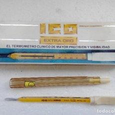 Antigüedades: TERMOMETRO DE MERCURIO MACA ICO - EXTRA ORO - PLANO - CON CAJA E INSTRUCCIONES. Lote 154966718