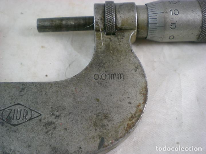 Antigüedades: Micrometro ZIUR - Lote x2 - 0-25 y 25-50 - Calibre Exterior - Foto 5 - 155154794