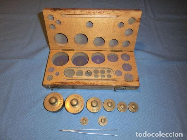 Antigüedades: Nº23 ANTIGUA CAJA CON 8 PESAS EN BRONCE 100% ORIGINAL - Foto 3 - 155214170