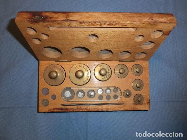Antigüedades: Nº23 ANTIGUA CAJA CON 8 PESAS EN BRONCE 100% ORIGINAL - Foto 9 - 155214170
