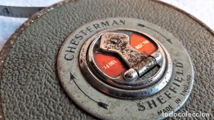 Antiquitäten: ANTIGUA CINTA METRICA CHESTERMAN SHEFFIELD PROFESIONAL METALICA ENGLAND - 70W 100FT - Foto 5 - 155371722