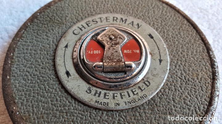 Antiquitäten: ANTIGUA CINTA METRICA CHESTERMAN SHEFFIELD PROFESIONAL METALICA ENGLAND - 70W 100FT - Foto 6 - 155371722